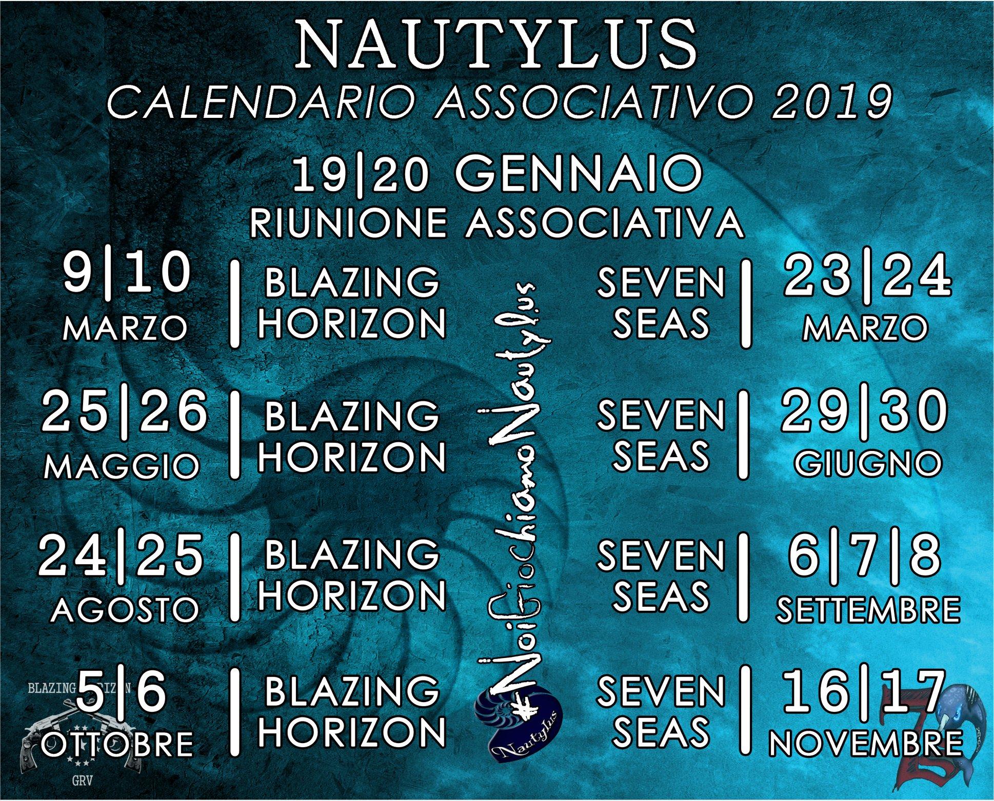 Pagina Di Calendario Settembre 2019.Calendario 2019 Associazione Nautylus